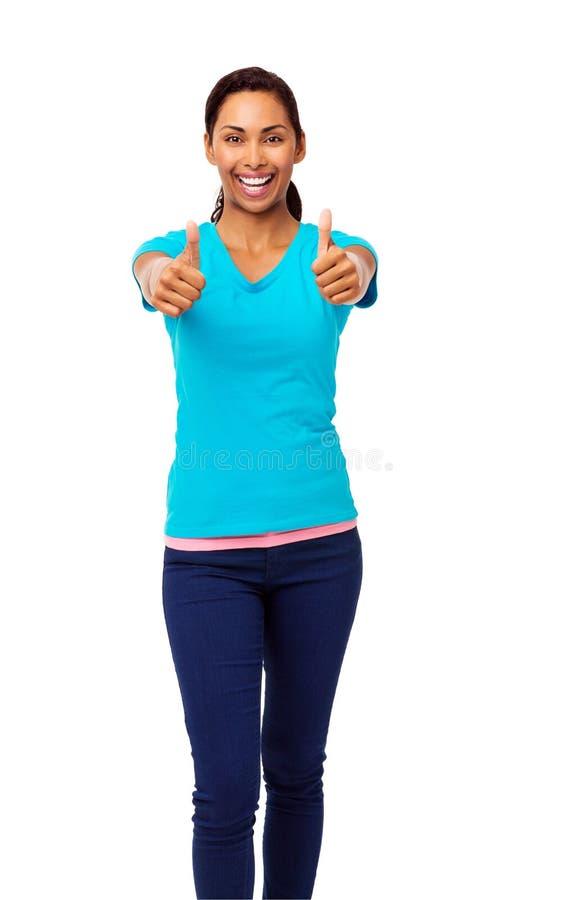 Asiatisk kvinna som gör en gest upp tummar arkivfoton