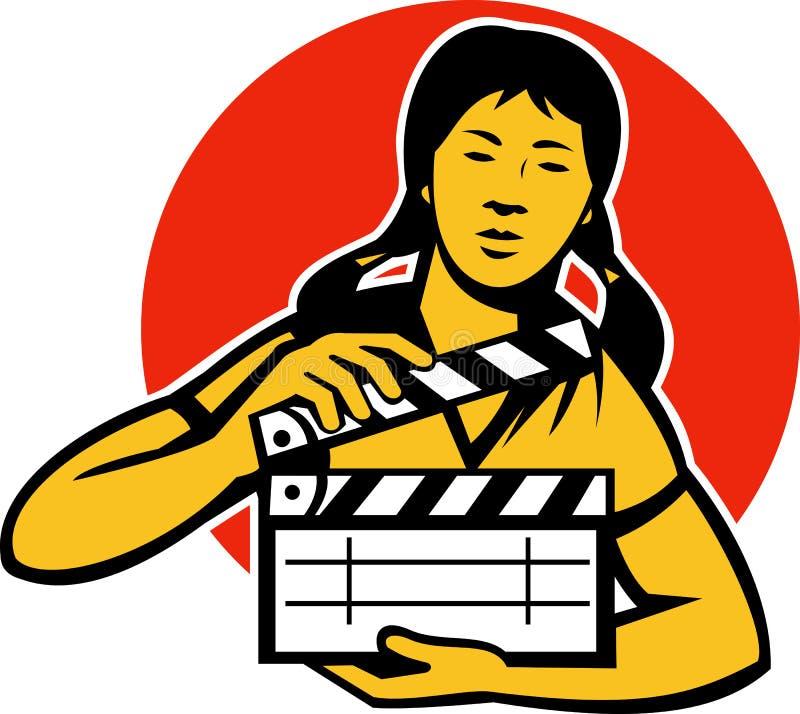 Asiatisk kvinnaflicka med filmpanelbrädan stock illustrationer