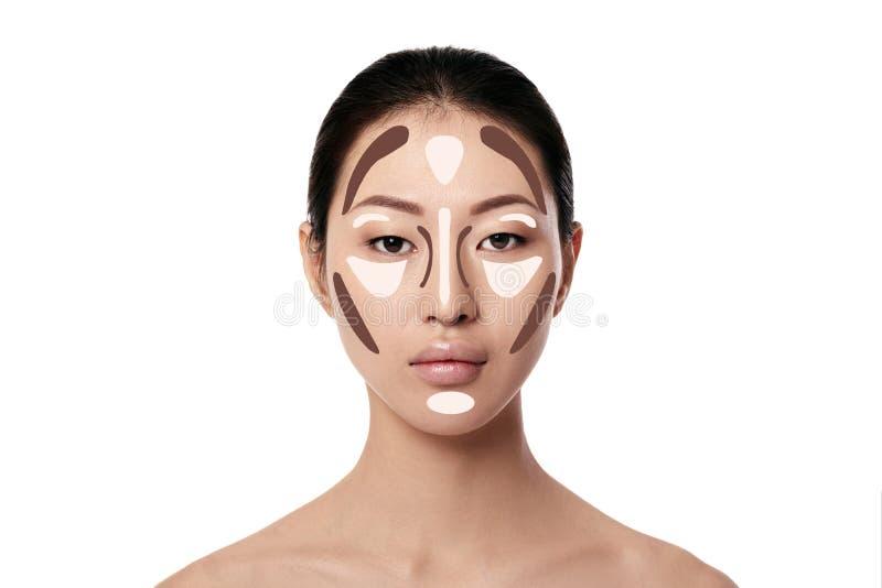 Asiatisk kvinnaframsida för smink på vit bakgrund royaltyfri bild