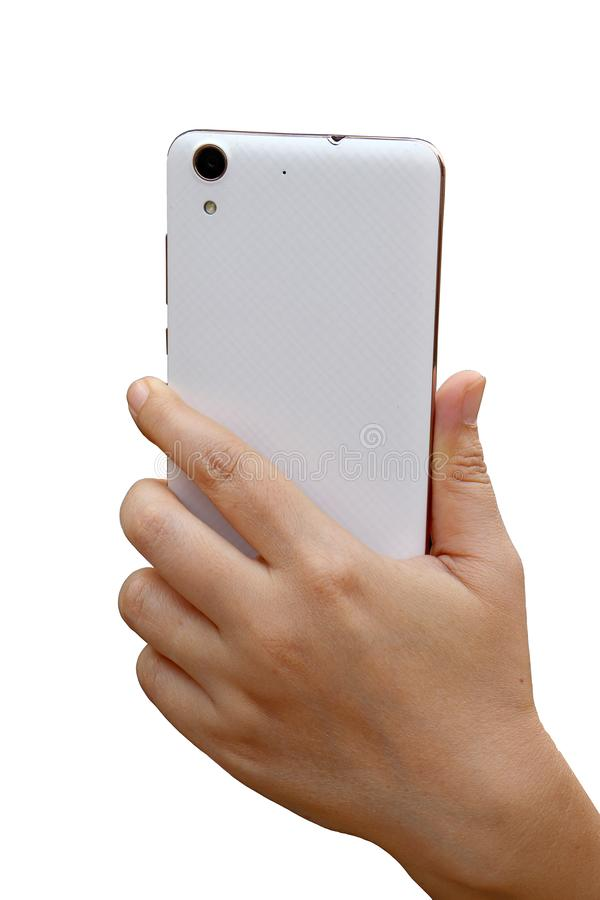 Asiatisk kvinnahand som rymmer och anv?nder den smarta sidan f?r telefonshowbaksida bakgrund isolerad white arkivbild