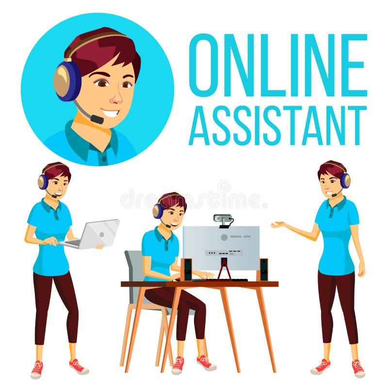 Asiatisk kvinnavektor för online-assistent Användaresupporttjänst Heta linjenoperatör illustration royaltyfri illustrationer