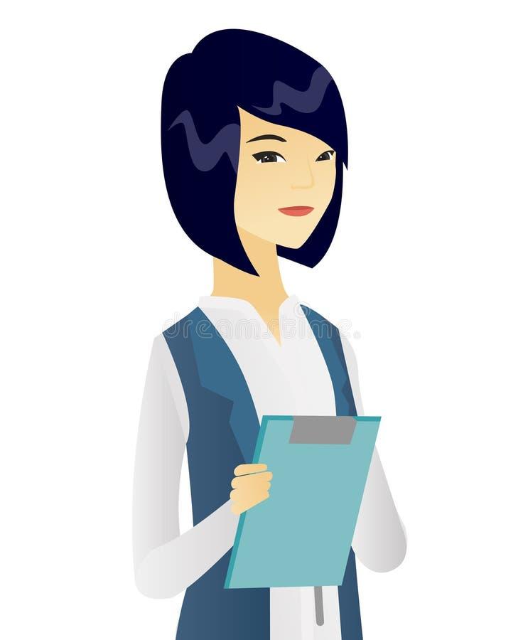 Asiatisk kvinnlig kontorsarbetare som rymmer en skrivplatta royaltyfri illustrationer