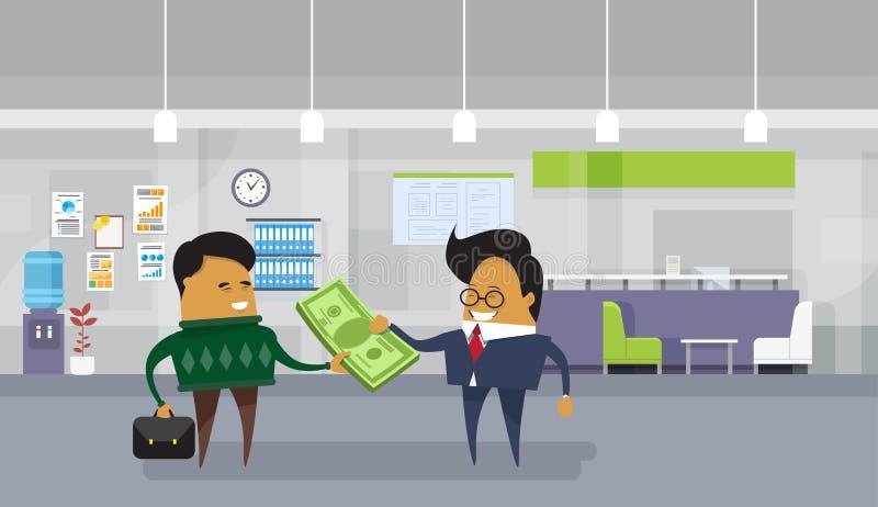 Asiatisk lön för lön för affärsman till anställdarbetaren som ger dollarpengarkassa royaltyfri illustrationer
