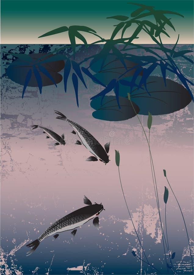 asiatisk lake stock illustrationer