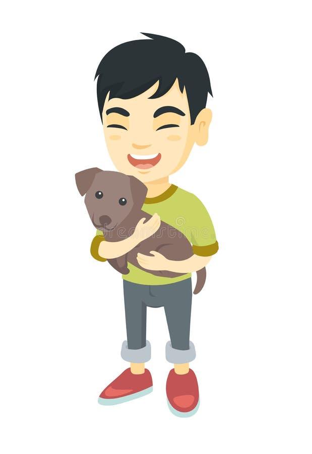 Asiatisk lycklig pojke som rymmer en hund vektor illustrationer