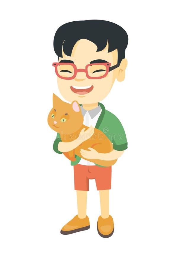 Asiatisk lycklig pojke som rymmer en katt stock illustrationer