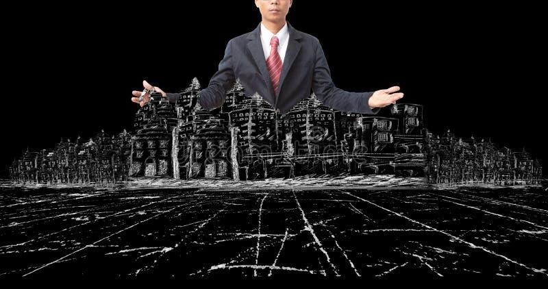 Asiatisk man och dra av modern byggnadskonstruktion på svart royaltyfri fotografi