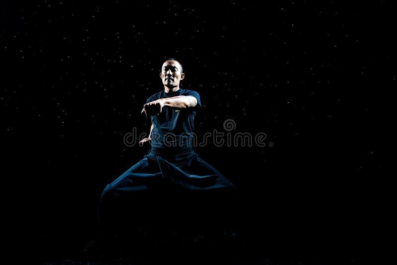 Asiatisk man som öva Kung Fu arkivbilder