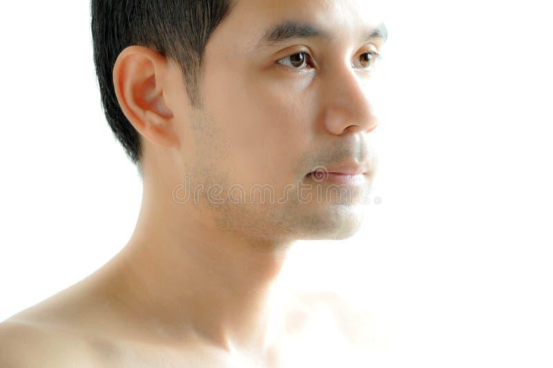 Asiatisk manframsida royaltyfria foton