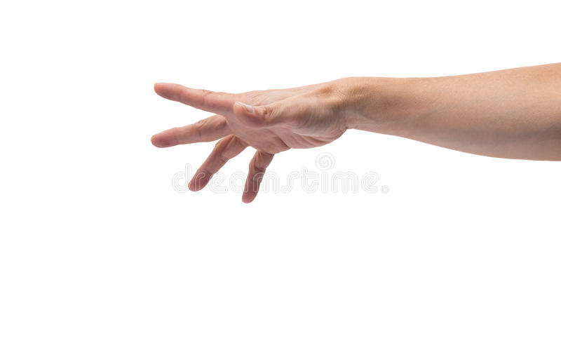 Asiatisk manlig hand som ut når royaltyfria foton