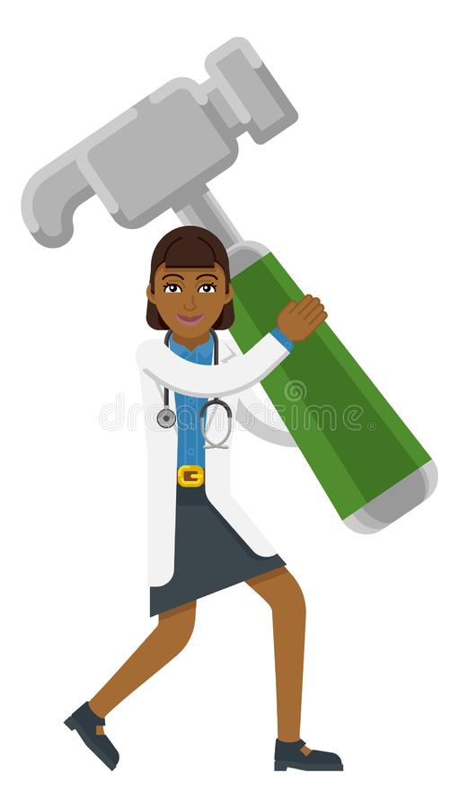 Asiatisk maskot för doktor Woman Holding Hammer royaltyfri illustrationer