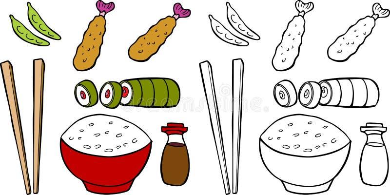 asiatisk mat stock illustrationer