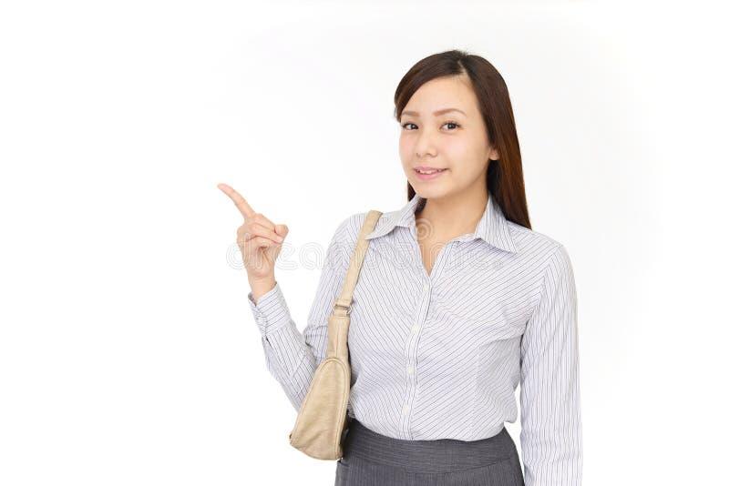 asiatisk pekande kvinna arkivfoton