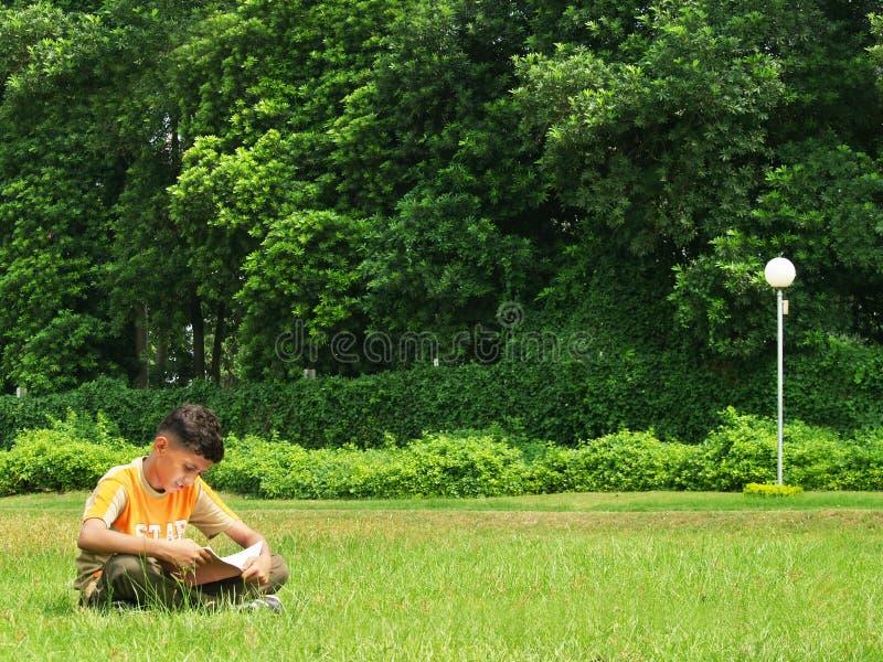 asiatisk pojke som studerar utomhus fotografering för bildbyråer