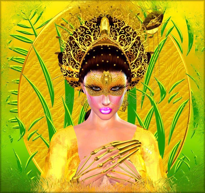 Asiatisk prinsessa med den guld- kronan mot en guld och en gräsplanbakgrund Moderna digitala konstskönhet, mode och skönhetsmedel vektor illustrationer