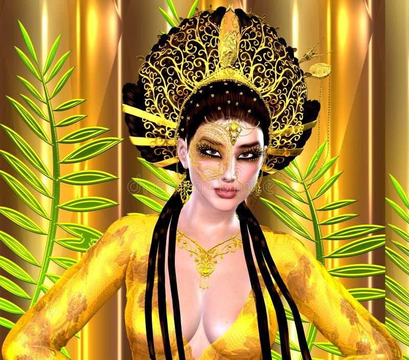 Asiatisk prinsessa med den guld- kronan mot en guld och en gräsplanbakgrund Moderna digitala konstskönhet, mode och skönhetsmedel royaltyfri illustrationer