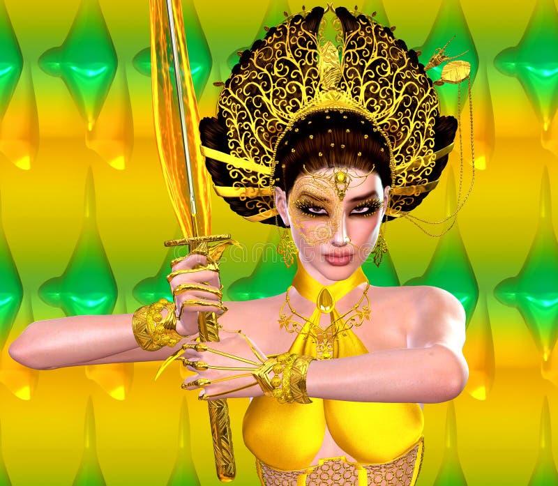 Asiatisk prinsessa med det guld- svärdet av brand mot en guld och en gräsplanbakgrund Moderna digitala konstskönhet, mode och skö royaltyfri illustrationer