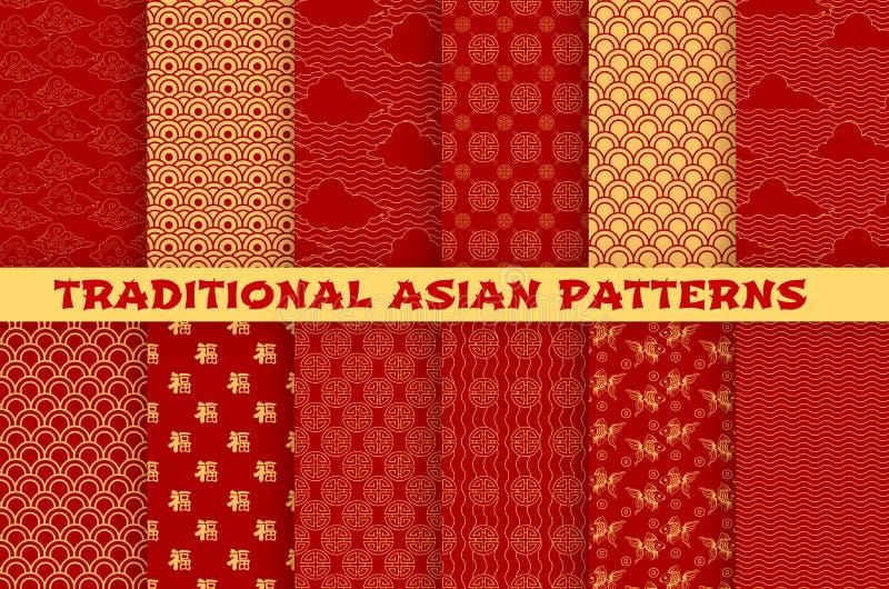 Asiatisk sömlös modell av den orientaliska guld- prydnaden vektor illustrationer