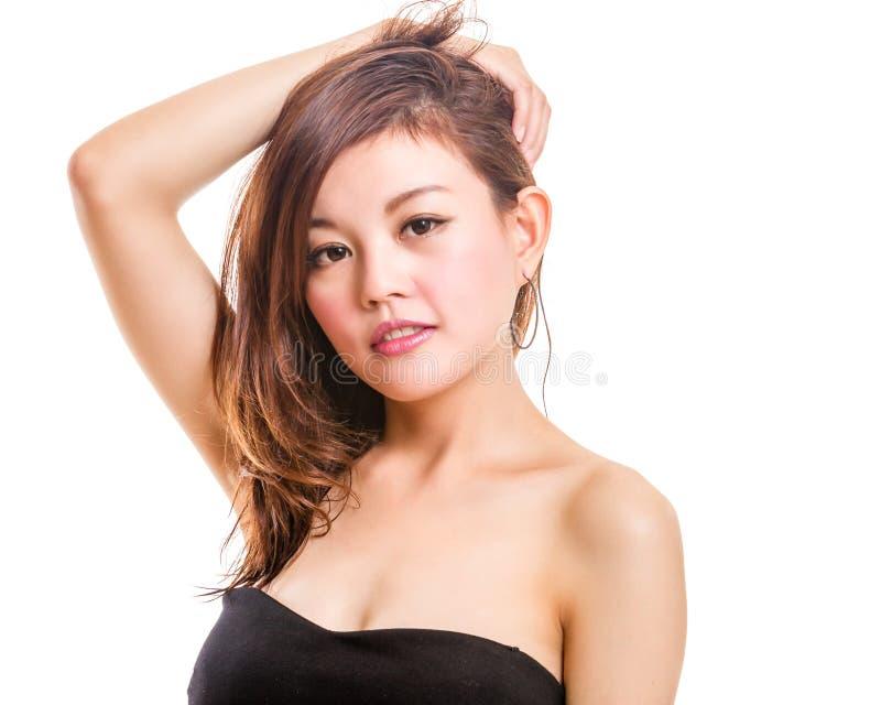 asiatisk skönhetståendekvinna arkivfoto