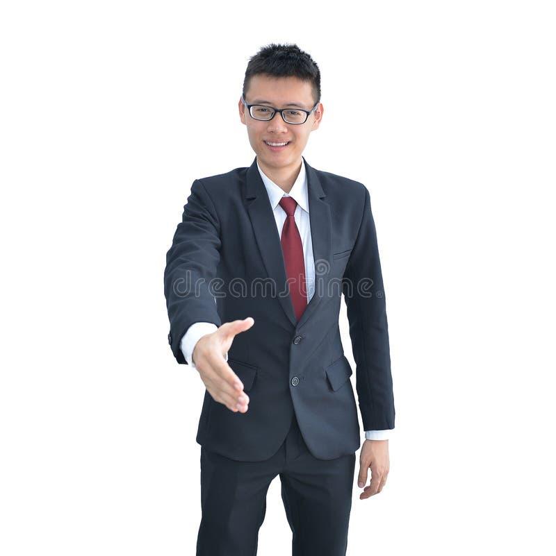 Asiatisk skaka för hand för affärsman som erbjudande inom isoleras på vit bakgrund, snabb bana royaltyfri fotografi