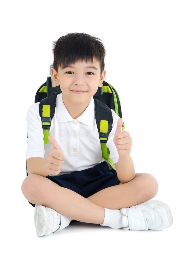 Asiatisk skolapojke arkivfoto
