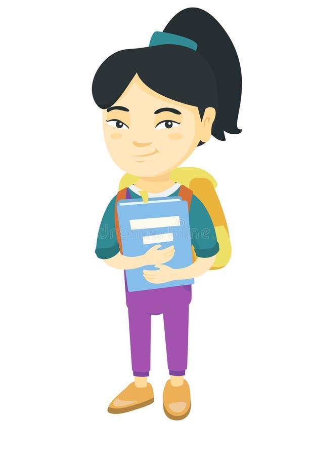 Asiatisk skolflicka med ryggsäcken och läroboken vektor illustrationer