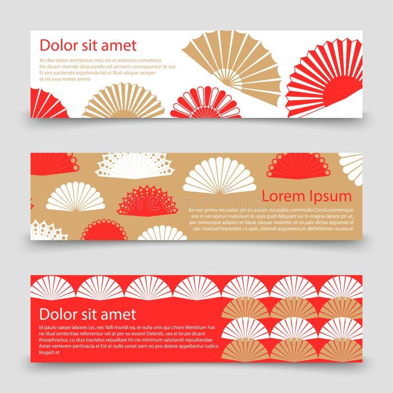 Asiatisk stilbanermall med handfans vektor illustrationer
