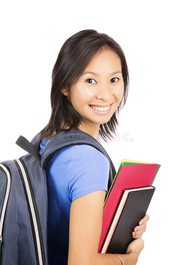 Asiatisk student med ryggsäcken arkivfoto
