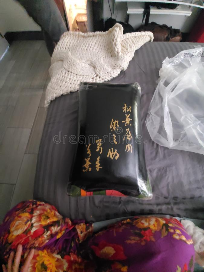 Asiatisk svart vinylkuddetappning royaltyfri bild