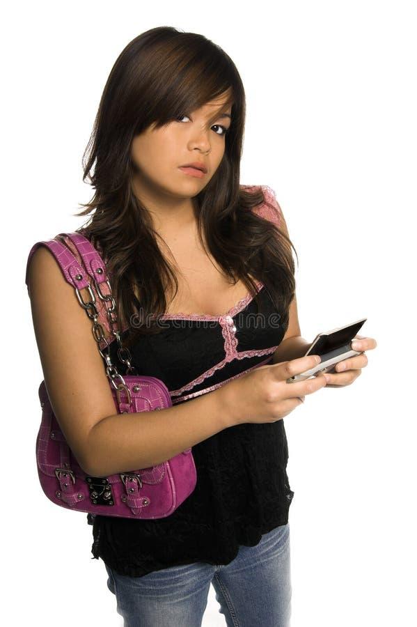 asiatisk telefonttl-kvinna arkivbilder
