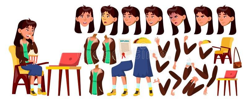 Asiatisk tonårig flickavektor Animeringskapelseuppsättning Framsidasinnesrörelser, gester Vända mot Barn _ för annonsering vektor illustrationer