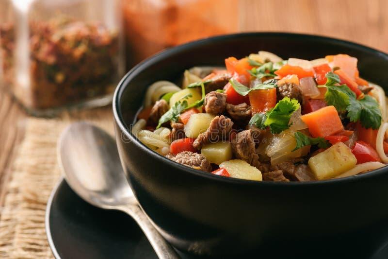 Asiatisk traditionell soppa med nudlar, kött och grönsaker som är bekanta som lagman arkivfoton
