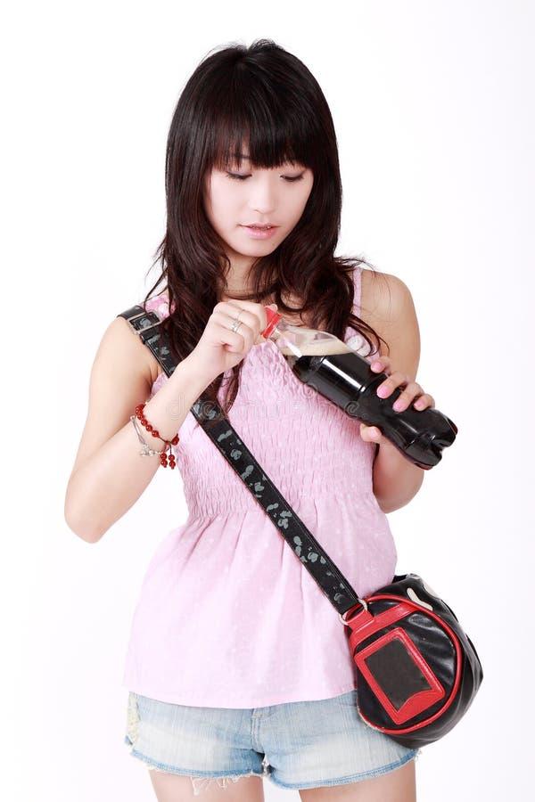 asiatisk trendig flicka royaltyfri fotografi