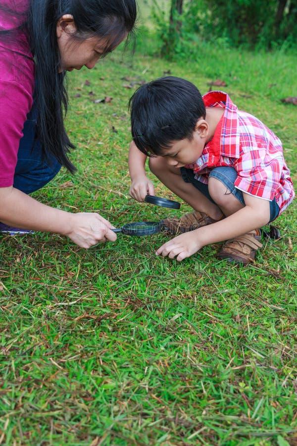 Asiatisk undersökande natur för moder och för son med förstoringsglaset slump royaltyfria foton