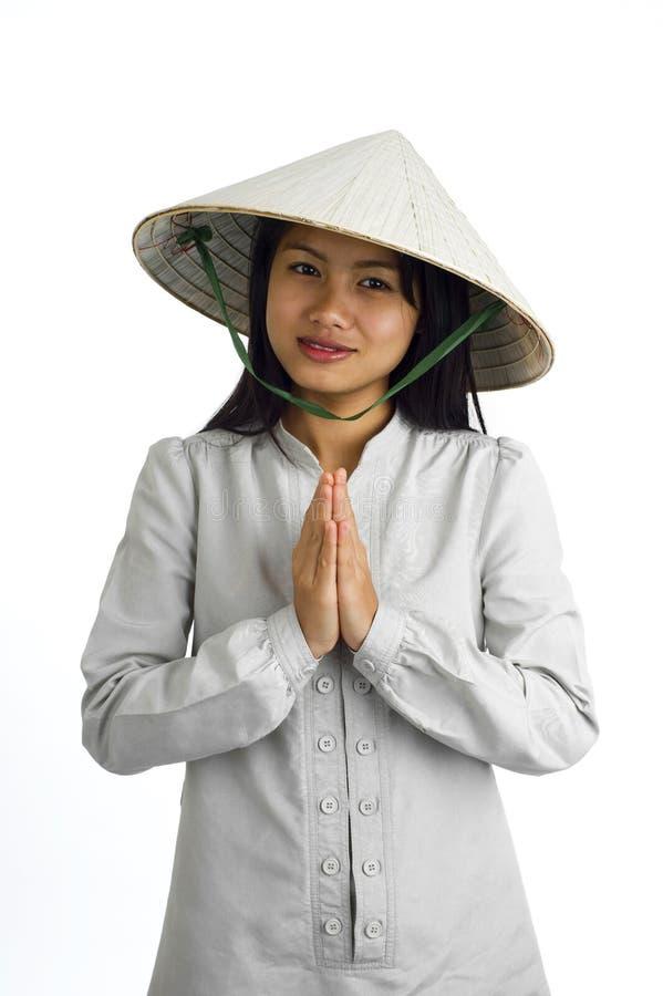 asiatisk uttrycksflickavälkomnande arkivbilder