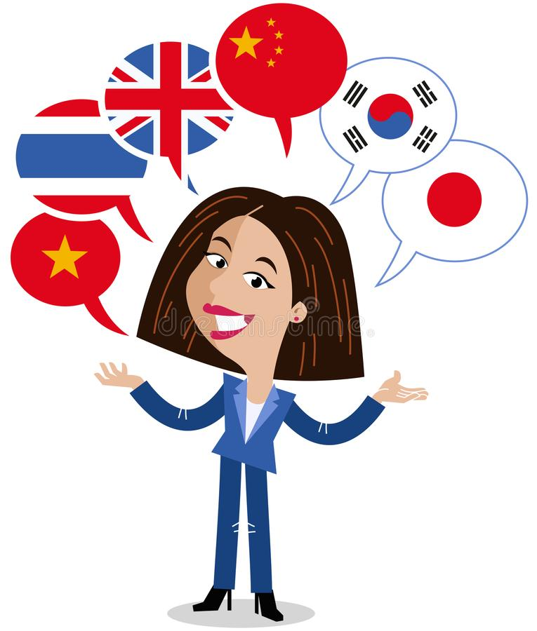 Asiatisk vektortecknad filmkvinna, sex anförandeballonger, flaggor, talande språk kines, engelska, vietnames, korean, japan som ä royaltyfri illustrationer