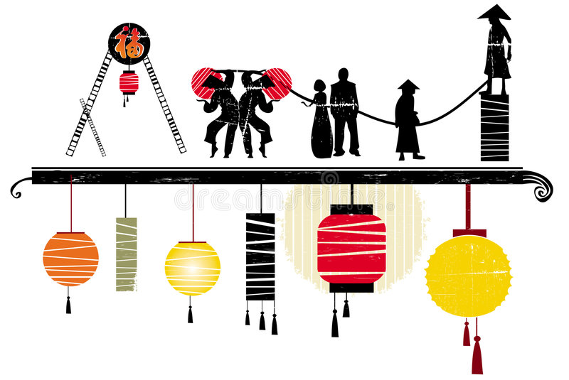 asiatiska designelement stock illustrationer