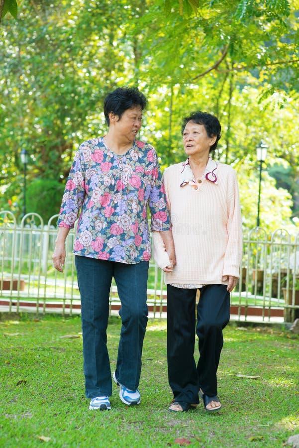 Asiatiska höga kvinnor som går på utomhus-, parkerar. royaltyfria bilder