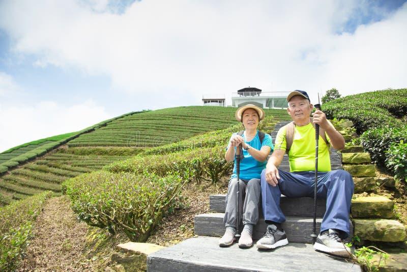 asiatiska höga par som fotvandrar i naturen arkivfoton