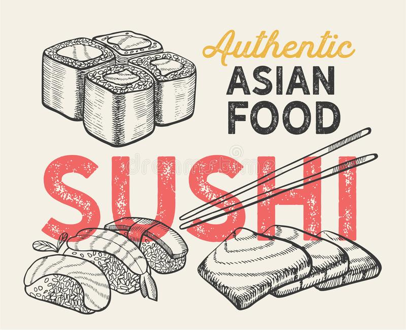 Asiatiska illustrationer - sushi, nigiri, maki för kinesisk restaurang royaltyfri illustrationer