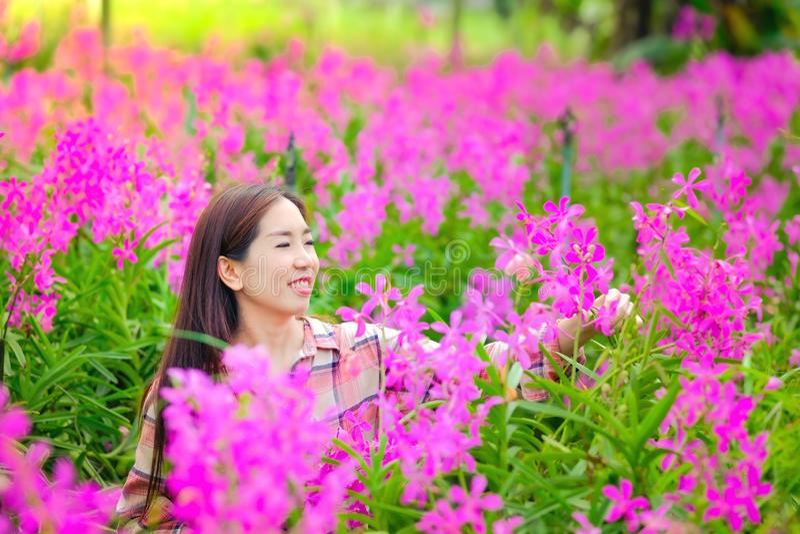 Asiatiska klippande rosa orkid?r f?r kvinnor i tr?dg?rden som ?r till salu med ett lyckligt leende royaltyfri foto