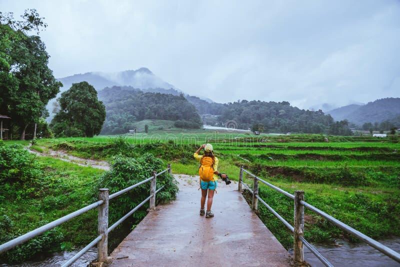 Asiatiska kvinnor reser naturen Gå ett foto risfältet och att stoppa för att ta ett avbrott för att koppla av på bron på förbudMa royaltyfri foto