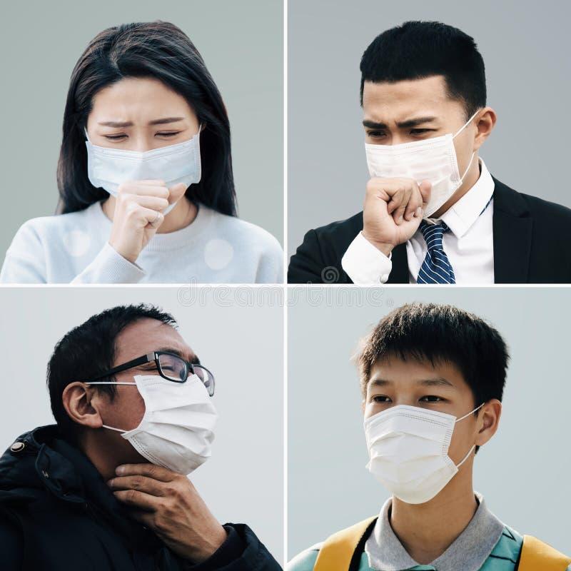 asiatiska människor lider av hosta med skydd mot ansiktsmask royaltyfri bild