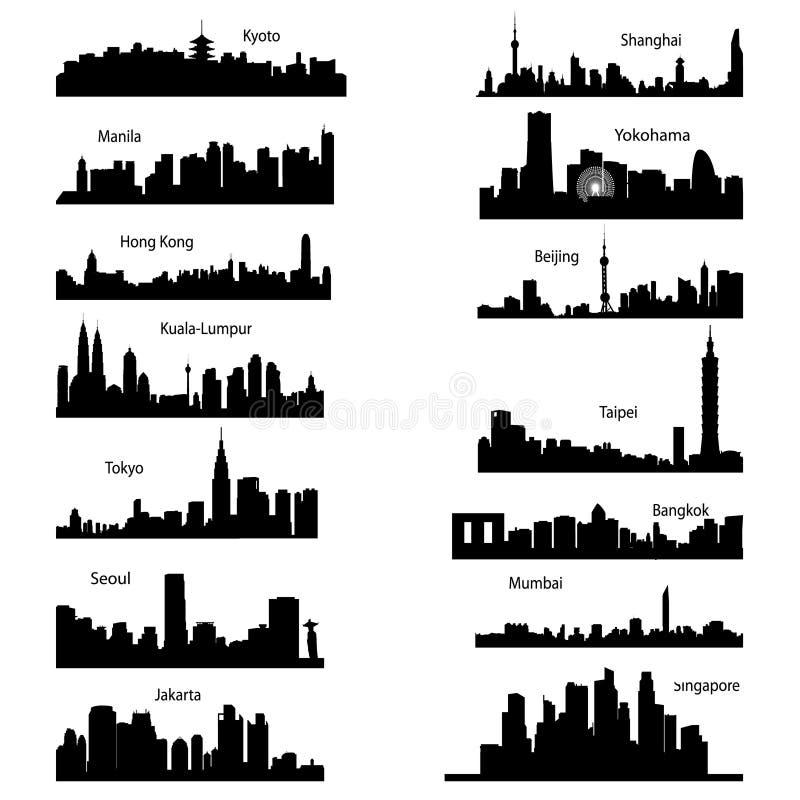 asiatiska stadssilhouettes royaltyfri illustrationer