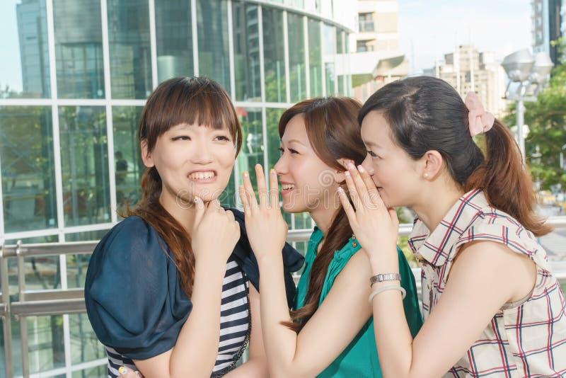 Asiatiska vänners viskning arkivbild