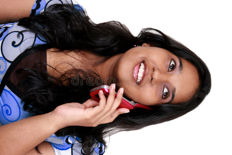 asiatiskt barn för flickatelefontalkin arkivbilder