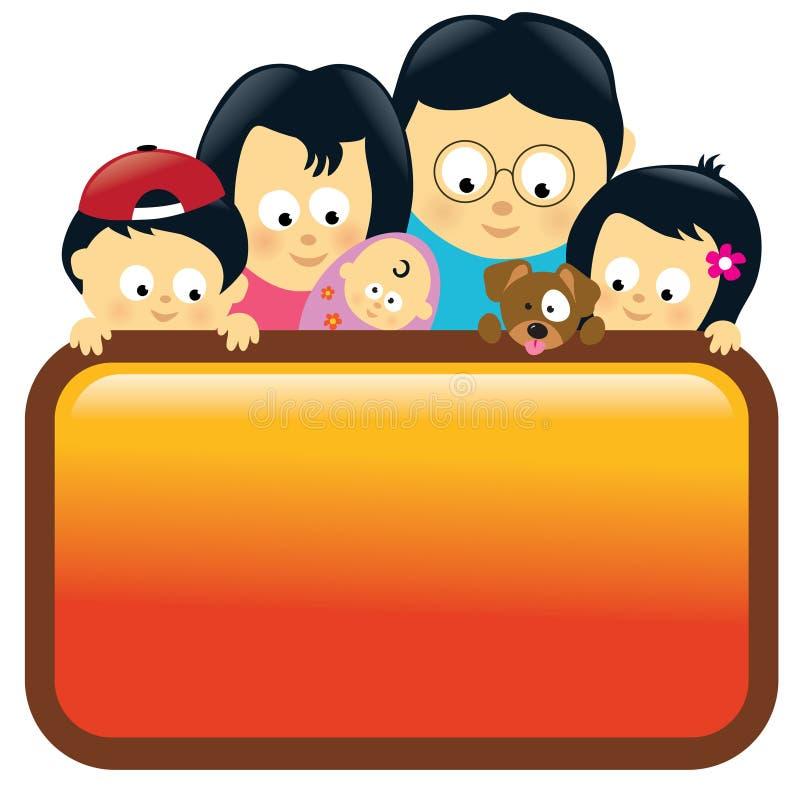 asiatiskt familjholdingtecken stock illustrationer