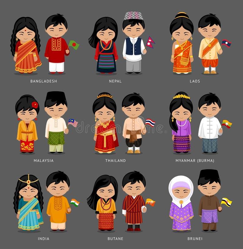 Asiatiskt folk i nationell klänning royaltyfria bilder