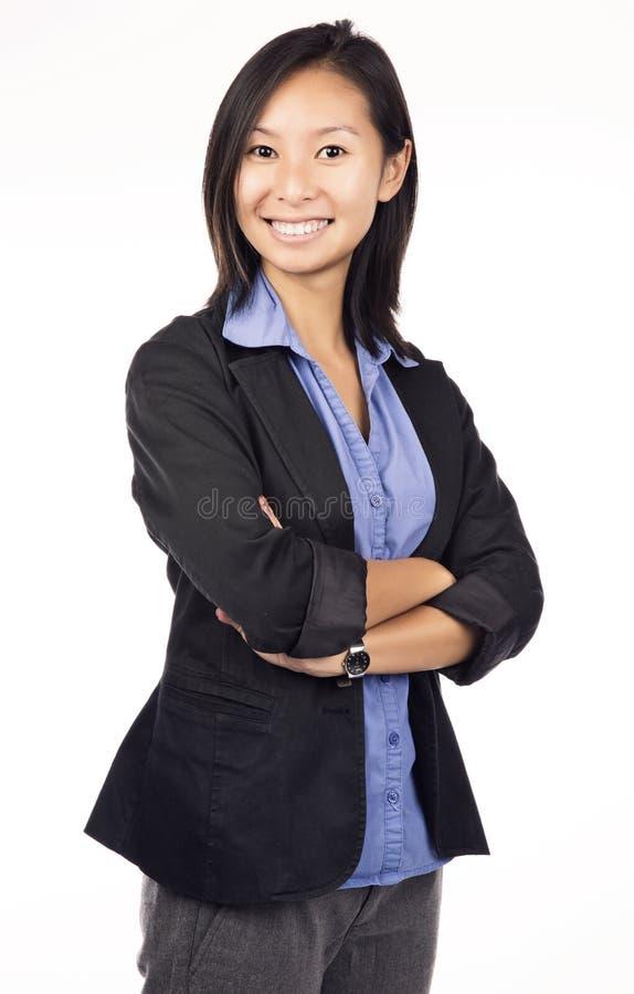 Asiatiskt le för affärskvinna royaltyfri fotografi