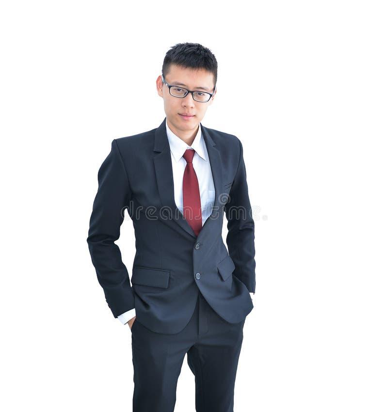 Asiatiskt le för affärsman som isoleras på vit bakgrund, clippin royaltyfria foton